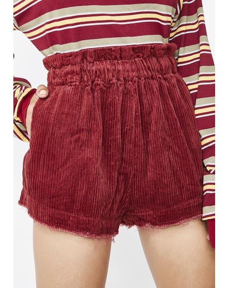 Scarlet Chic Nerd Corduroy Shorts