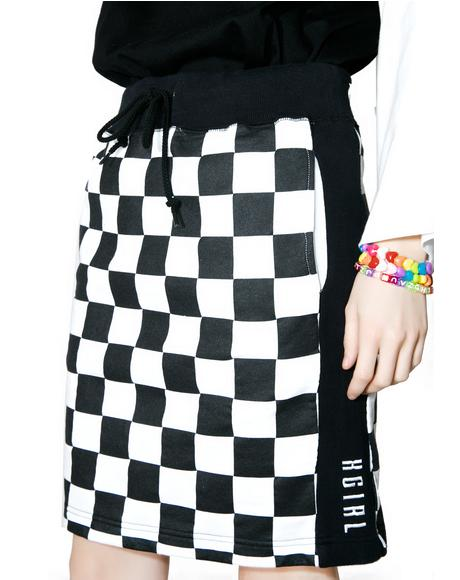 Checkered Sweat Skirt