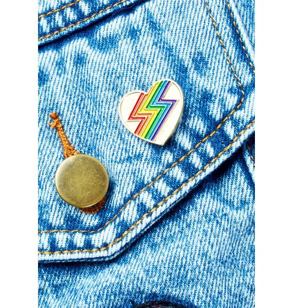 Laser Kitten Rainbolt Heart Pin