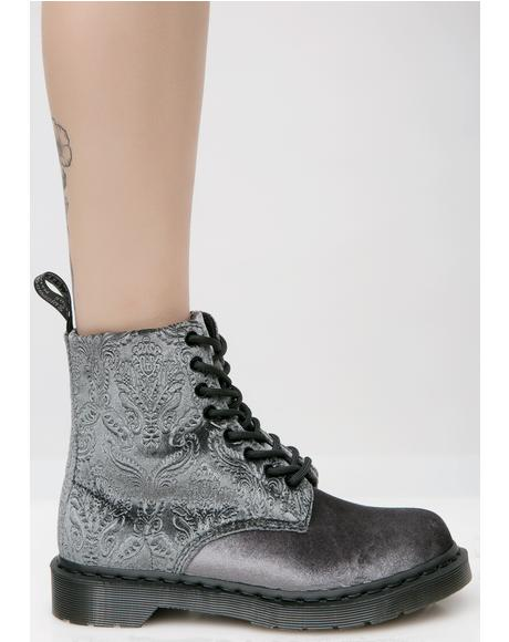 Gray 1460 Brocade 8 Eye Boots