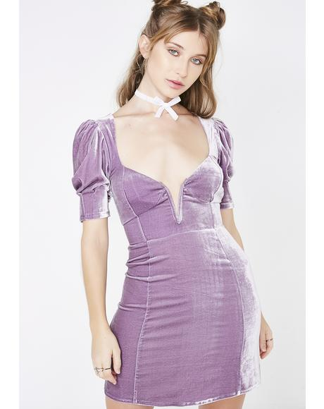 Lilac Viva Deep V Mini Dress