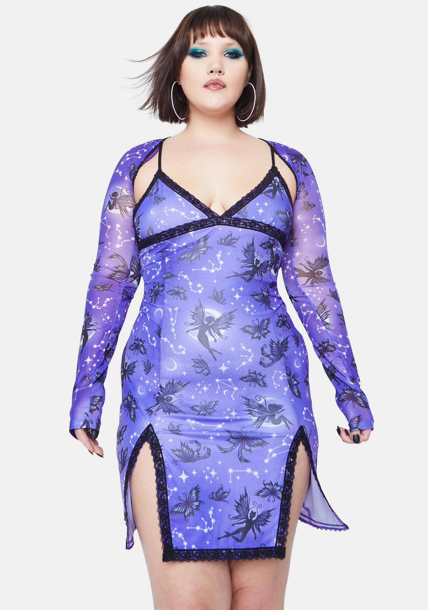 HOROSCOPEZ Always Heighten Senses Goth Fairy Mesh Scallop Dress