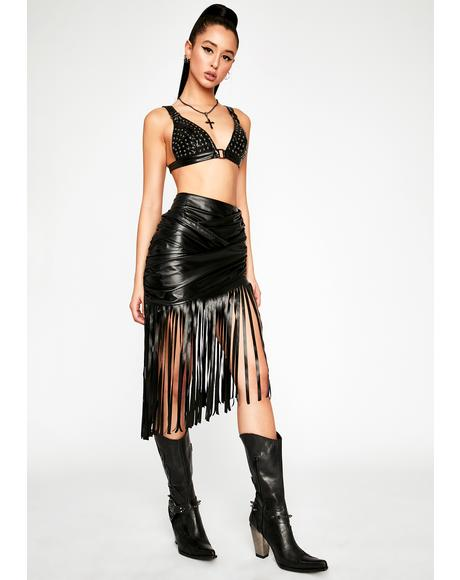 Warning Call Fringe Skirt