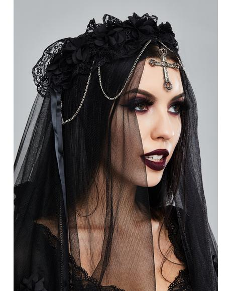 Gothic Cross Bride Veil