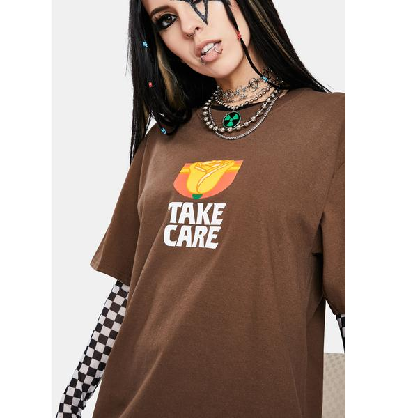 Petals and Peacocks Take Care Rose Graphic Tee