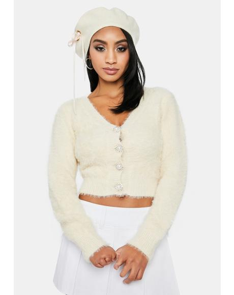 Cream Cutest Thing Fuzzy Crop Cardigan