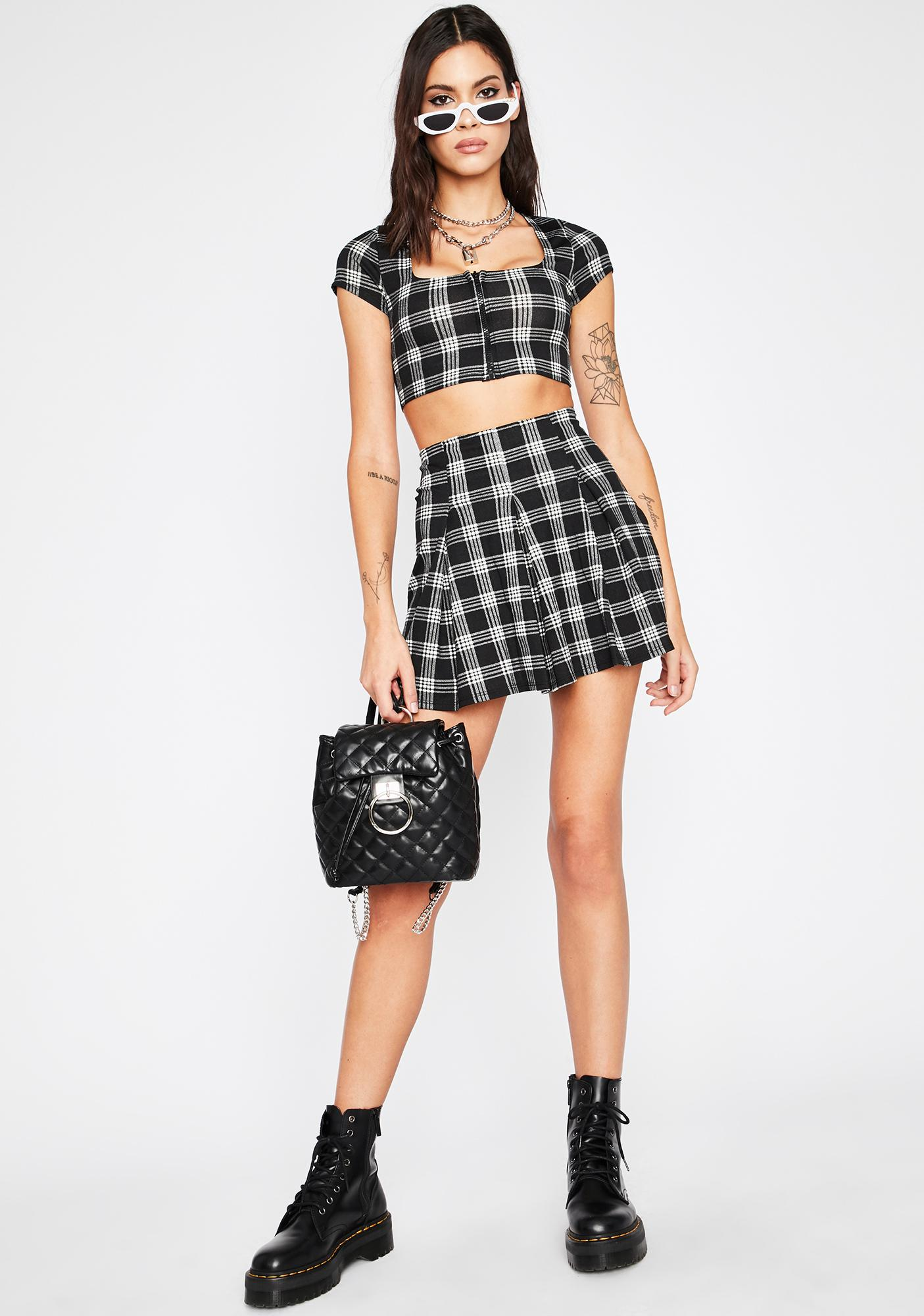 Late For Class Plaid Set
