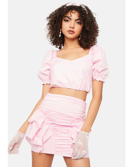 Hot N Cold Puff Sleeve Ruffle Mini Skirt Set