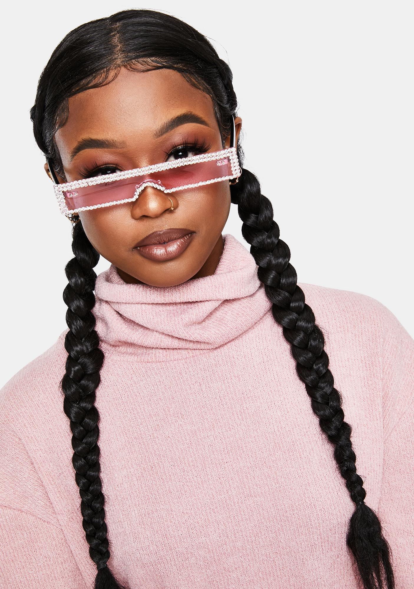 Pixie Into The Future Slim Rhinestone Sunglasses