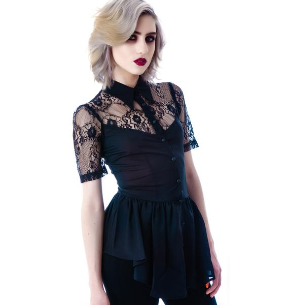 Lip Service Black Steam Lace Cap Sleeve Top