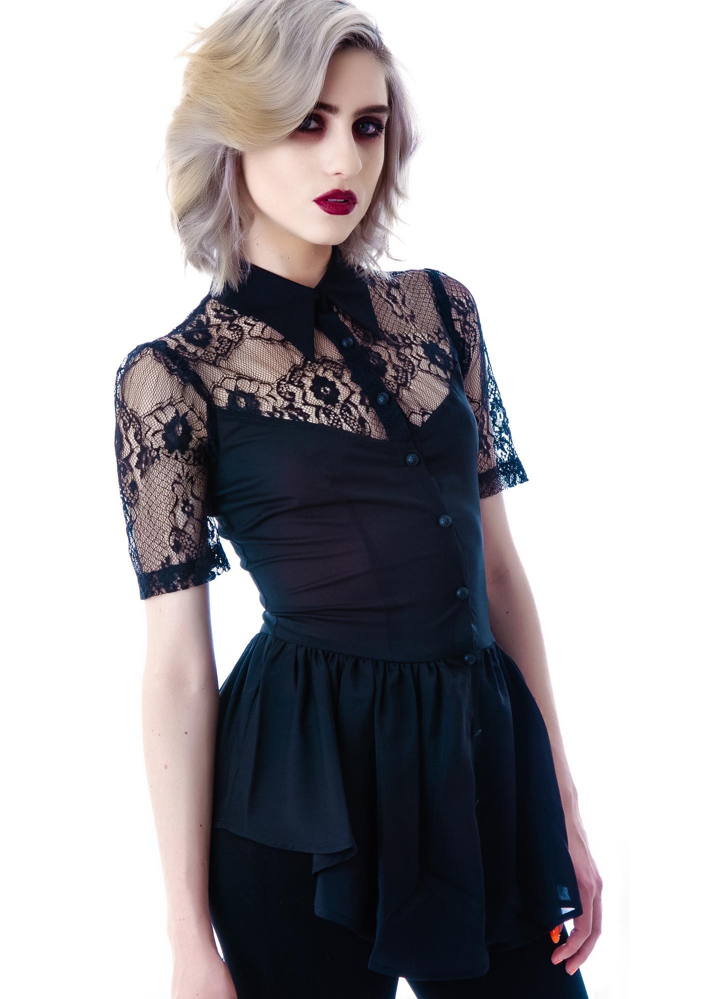Lip Service Black Steam Lace Cap Sleeve Top
