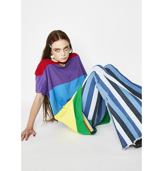 Lazy Oaf Wavy Rainbow Tee