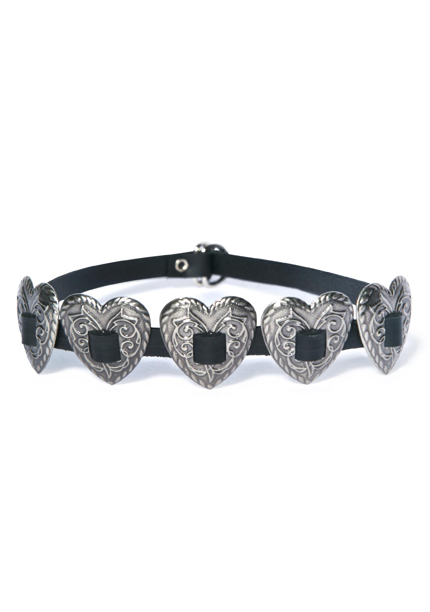 Queen Of Hearts Concho Strap Choker