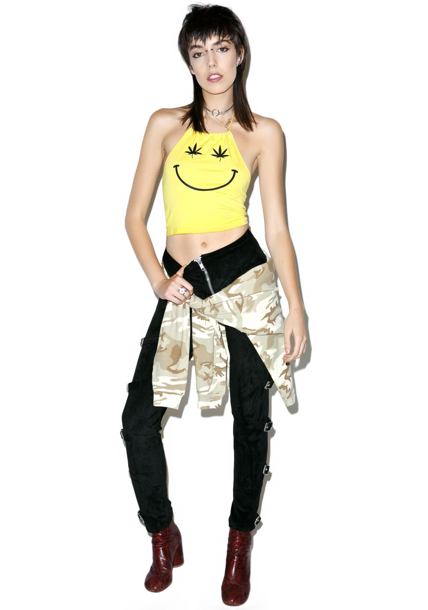 Stoned Smiley Halter Top