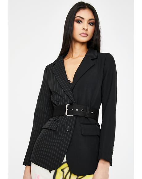 Black Pinstripe Buckle Blazer