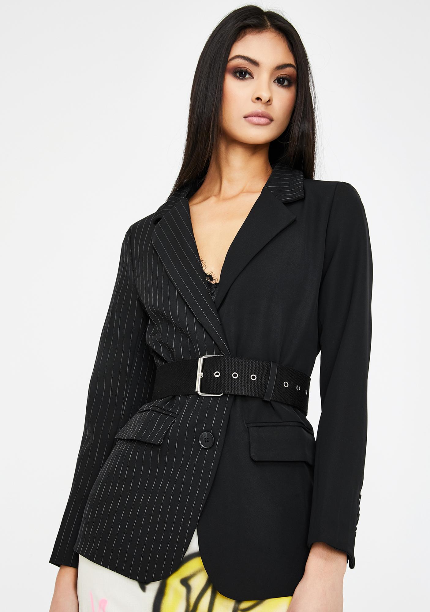Alzang Black Pinstripe Buckle Blazer