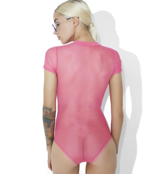 Raspberry Hard Candy Mesh Bodysuit