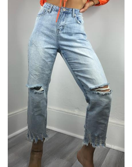 Bleach Wash Rosina Straight Leg Jeans