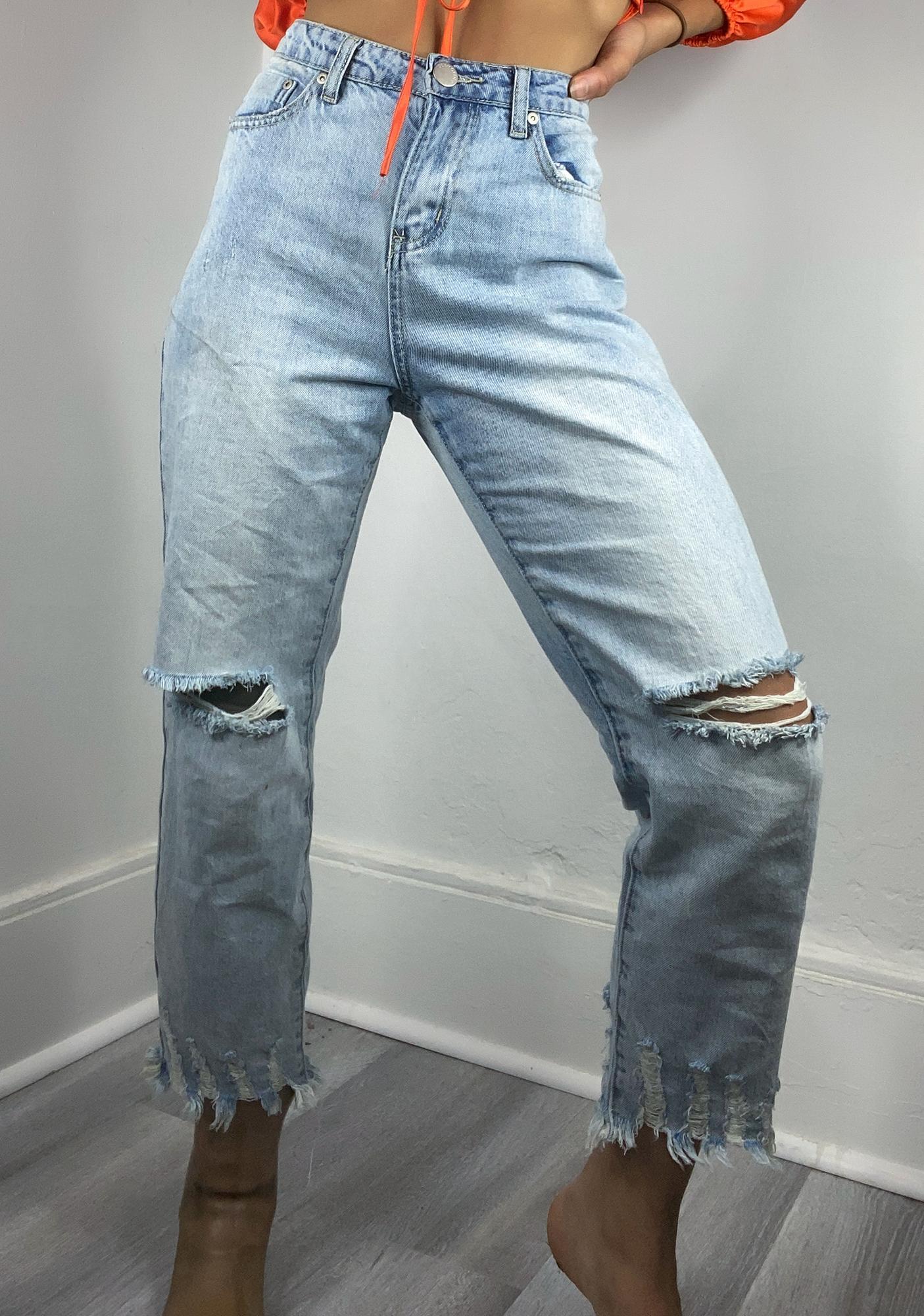 Glamorous Bleach Wash Rosina Straight Leg Jeans