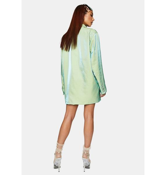 Daisy Street Iridescent Green Relaxed Tailored Blazer