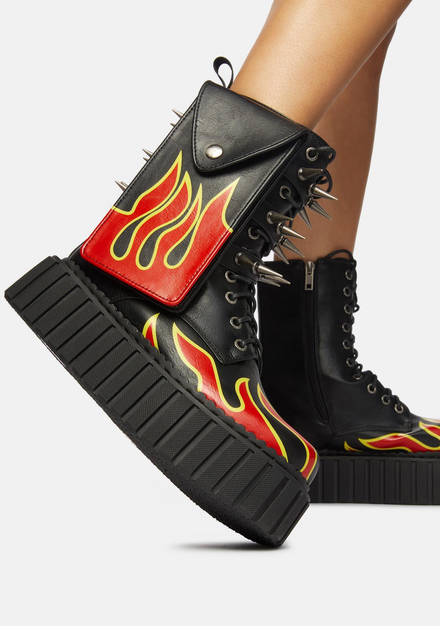 Lamoda Flame Thrower Chunky Creeper Holster Boots