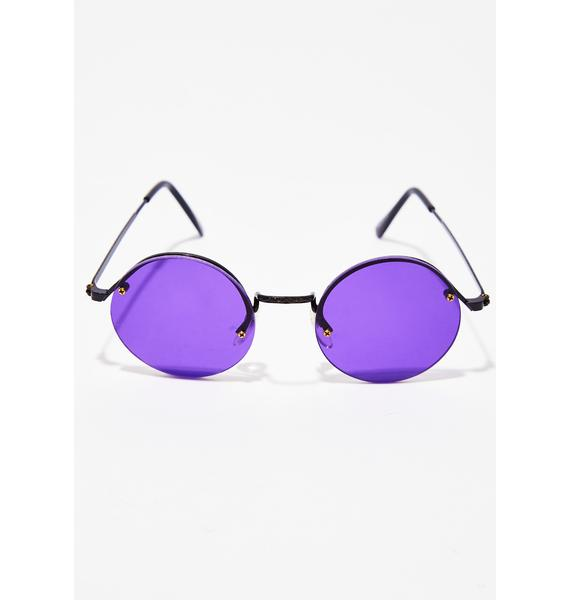 Violet Groovy Gal Round Sunglasses