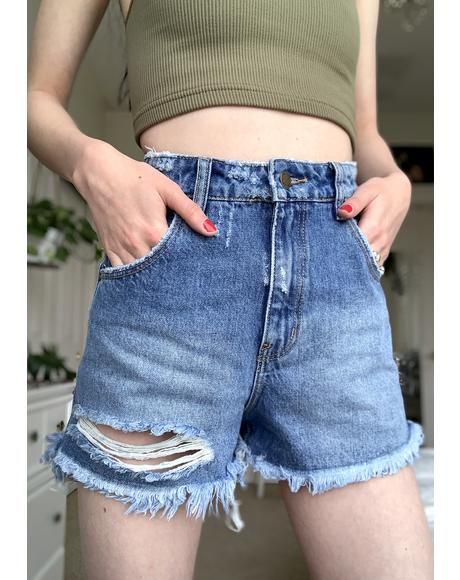 Ashley Blue Dusters Denim Shorts
