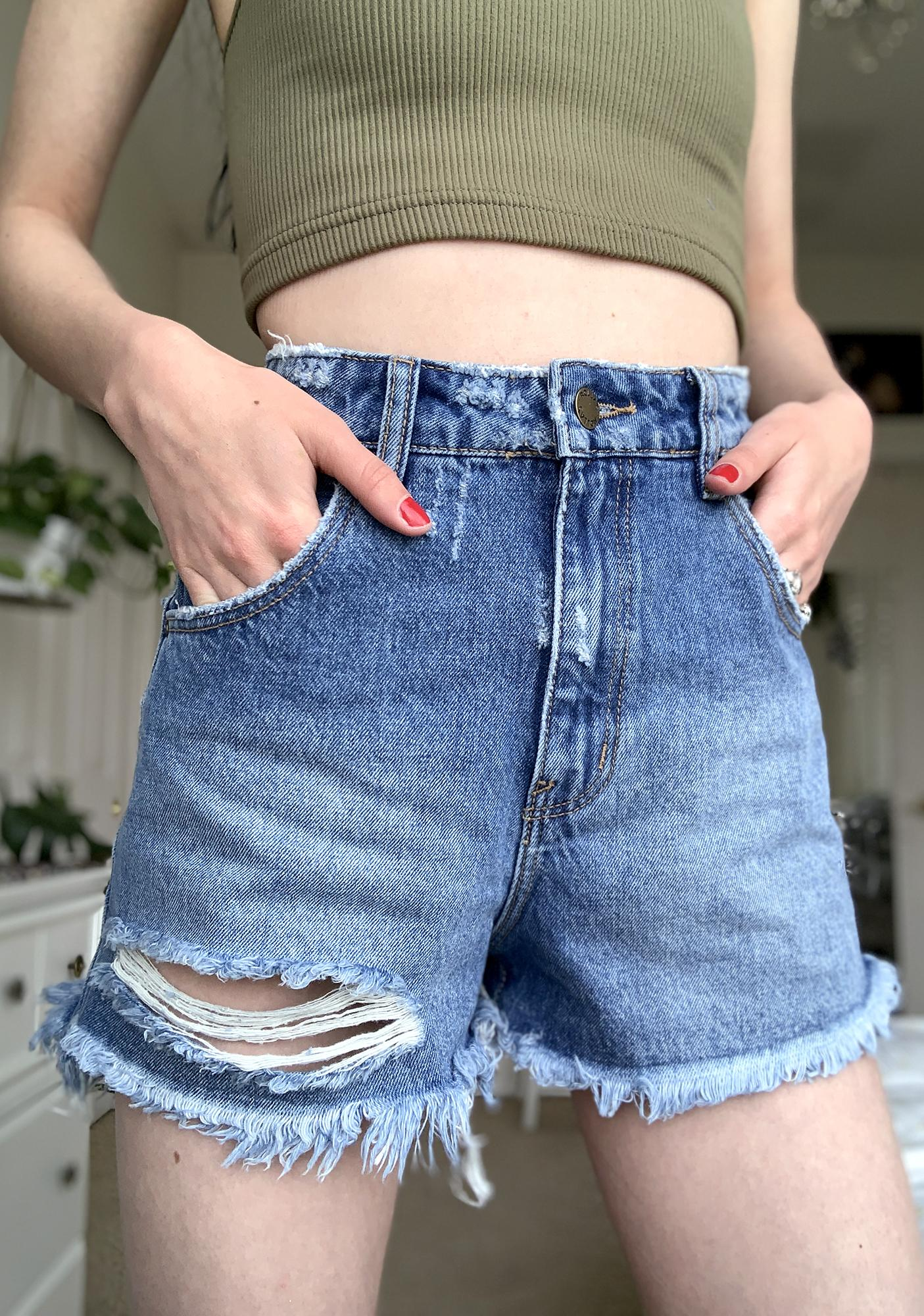 Rollas Ashley Blue Dusters Denim Shorts