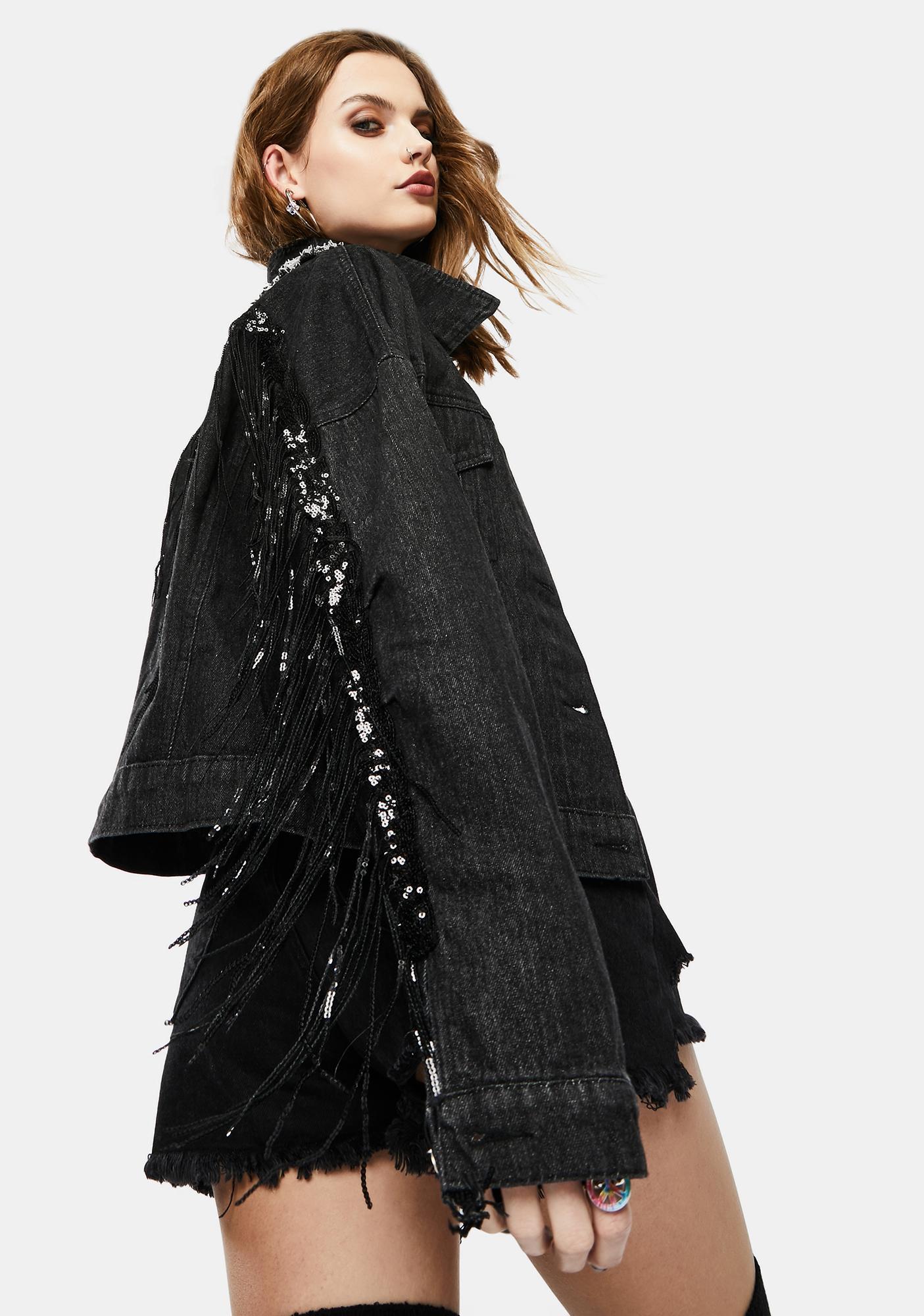 Dark Checks And Texts Fringe Denim Jacket