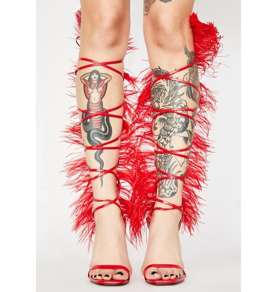 Public Desire Red Frolic Wrap Heels