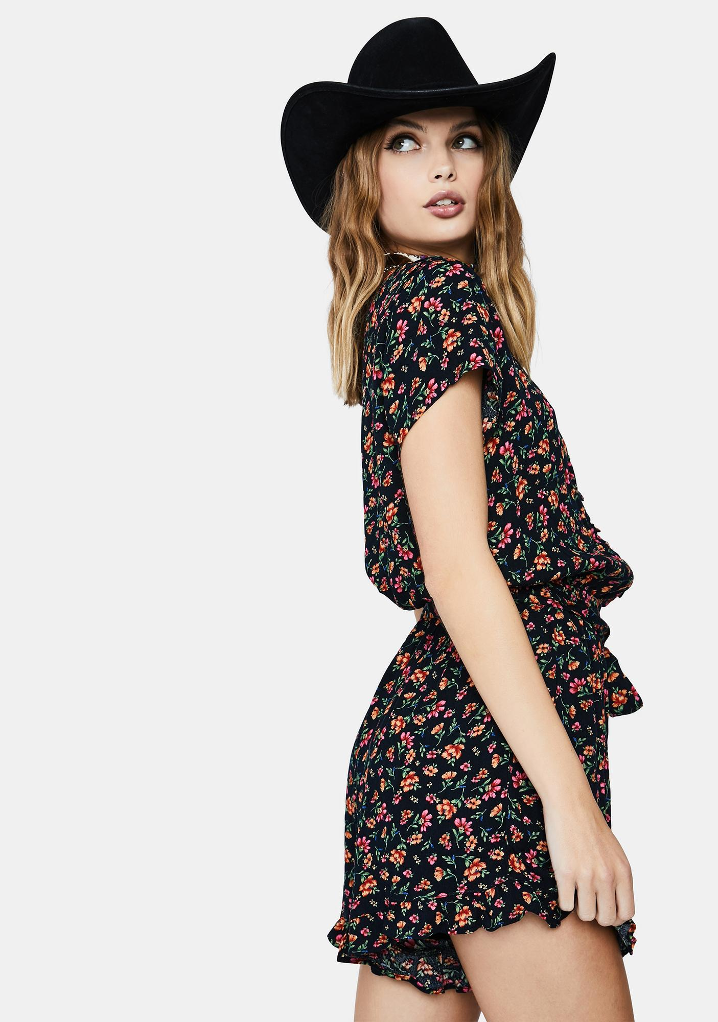 LOST + WANDER Party Til Dawn Floral Romper