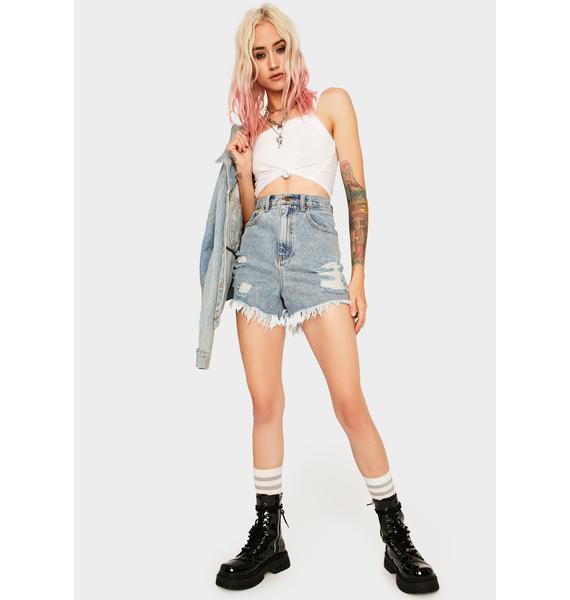 Mink Pink Cruise Frayed Denim Shorts