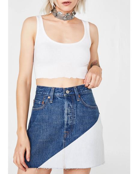Two-Tone Deconstructed Denim Skirt