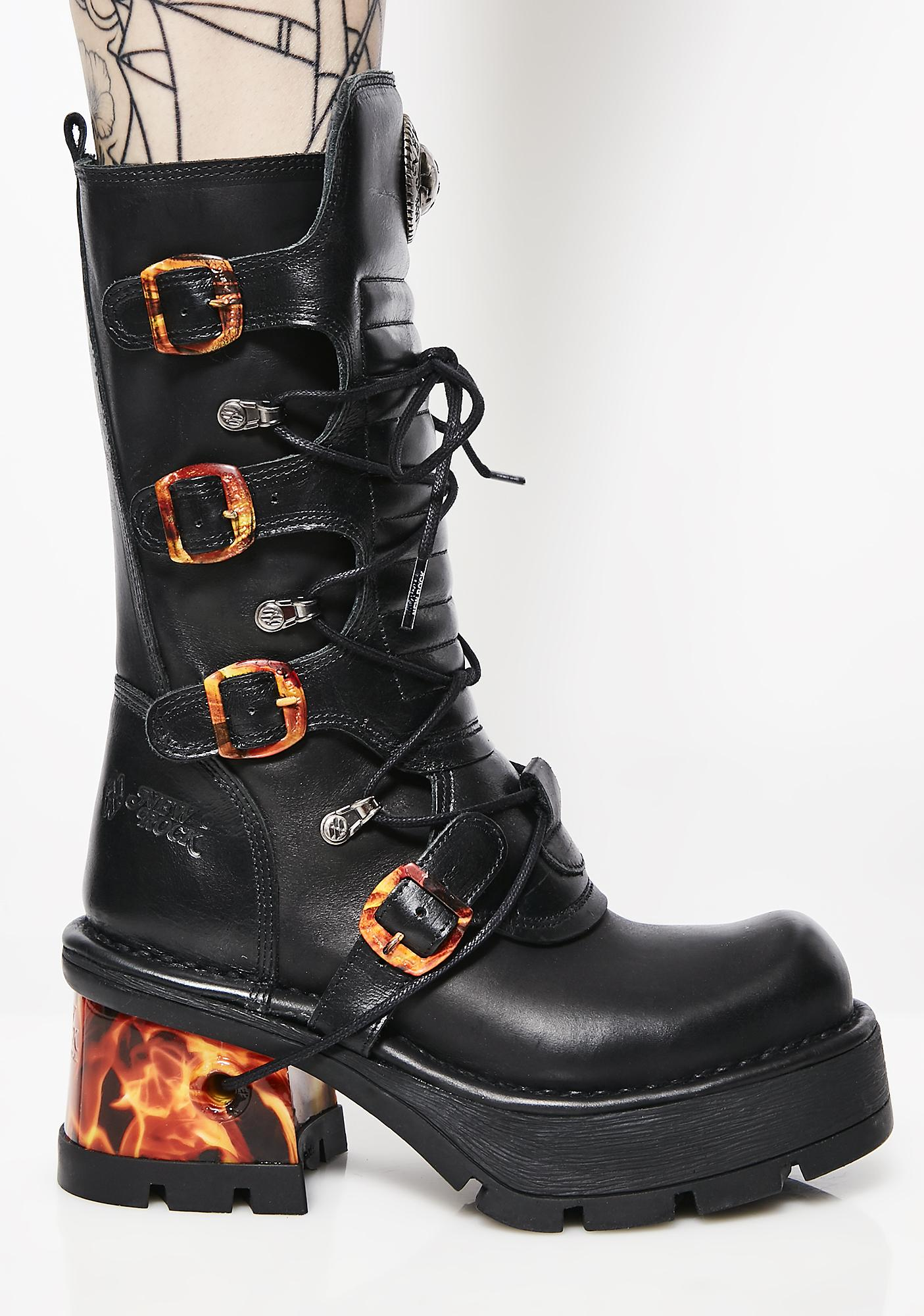 New Rock Flamin' Hottie Flame Boots