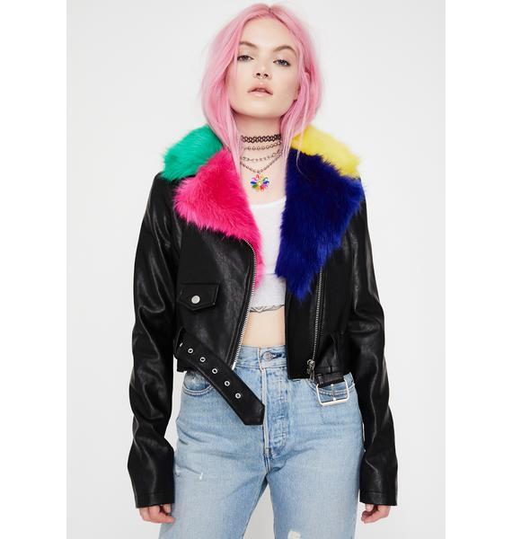 Good Luck Trolls x Dolls Kill Troll Fur Moto Jacket