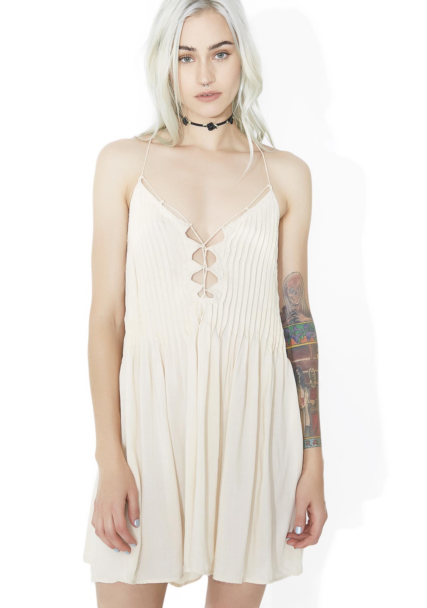 Beige Lace Up Slip Dress