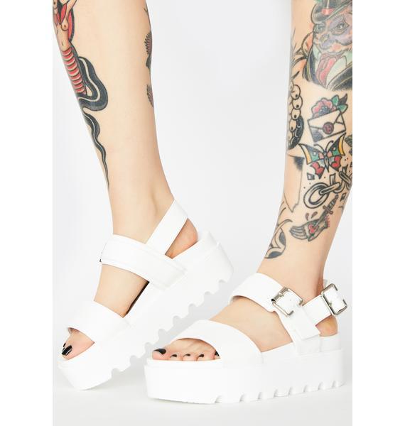 Koi Footwear White Sitri Chunky Platform Sandals