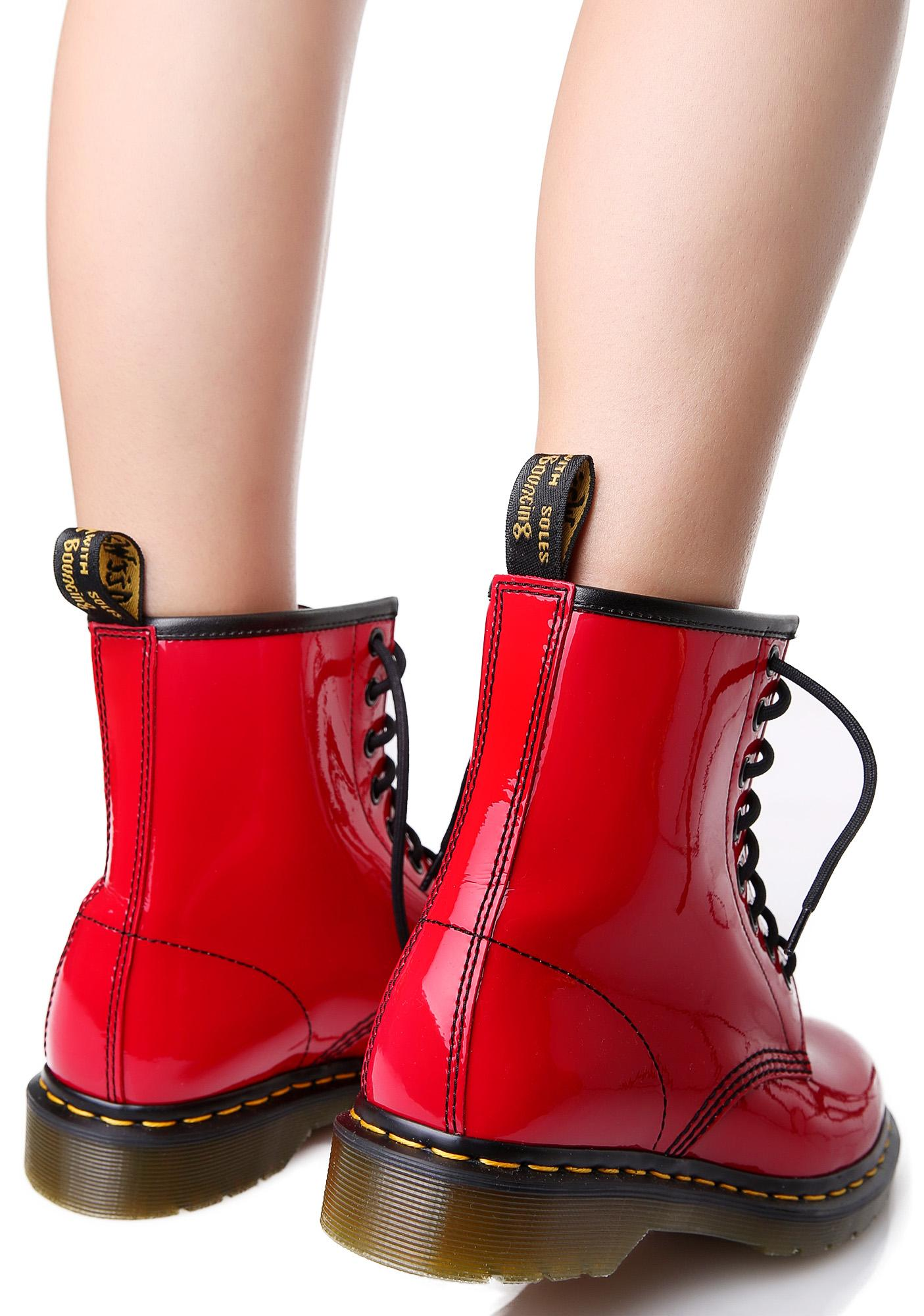 Dr. Martens Red Patent 1460 8 Eye Boots