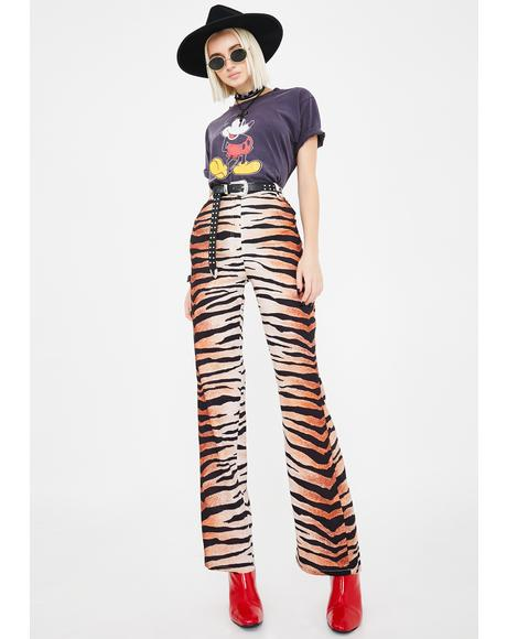 Coco Tiger Stripe Flare Pants