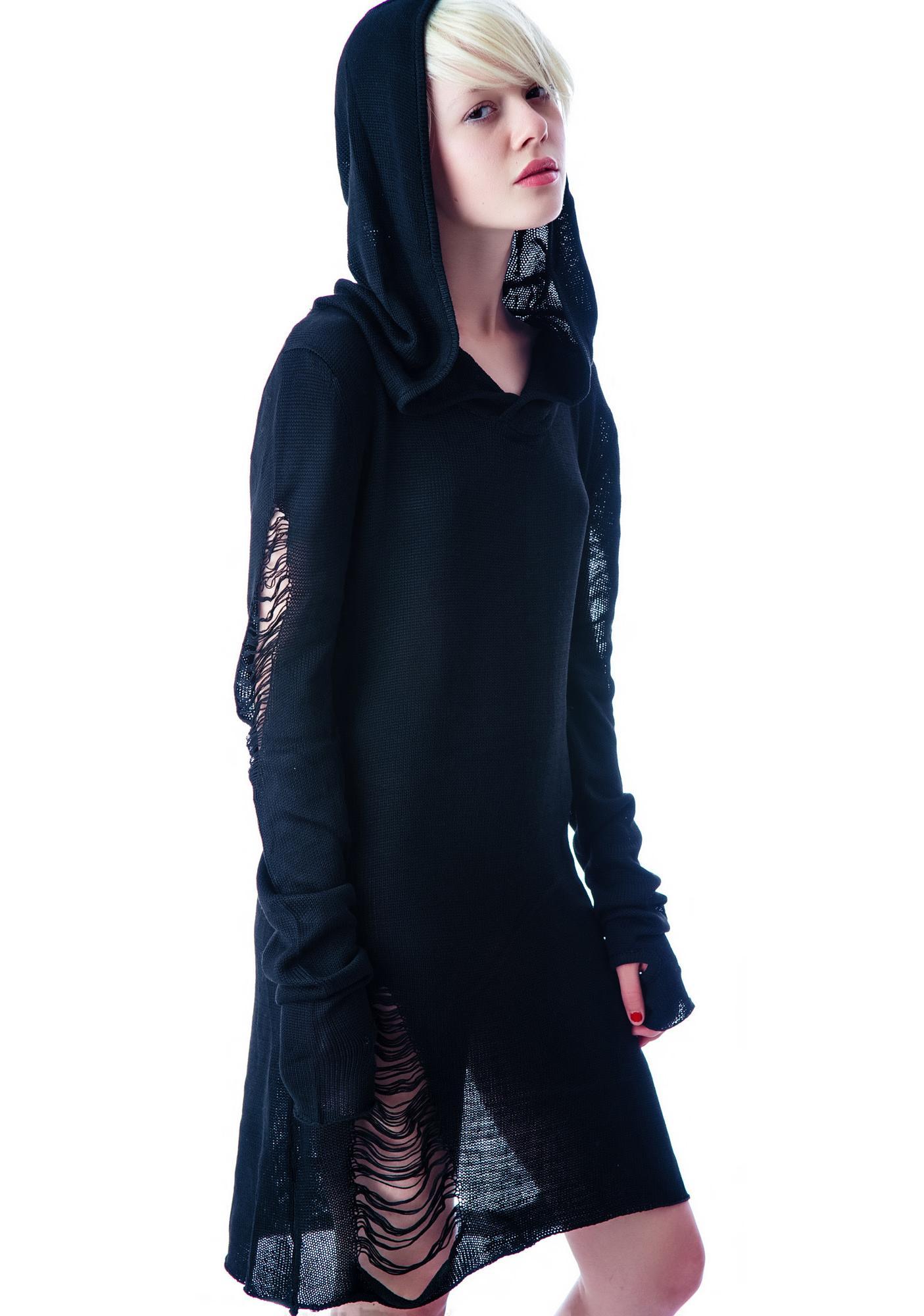 Widow Tattered Hooded Sweater Dress