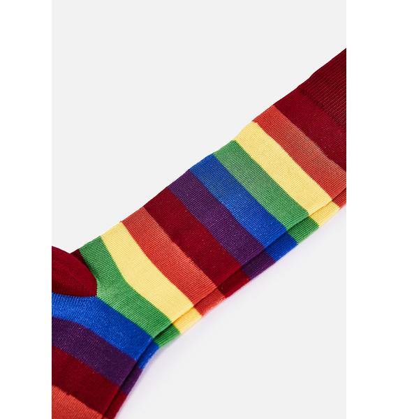 MeMoi Rainbow Stripe Crew Socks
