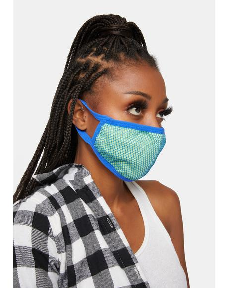 Neon Heart Fishnet Face Mask