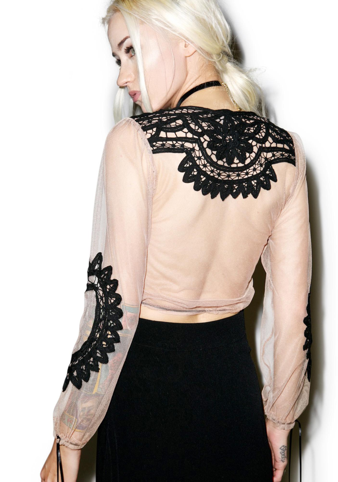 For Love & Lemons Noir Penelope Crop Top