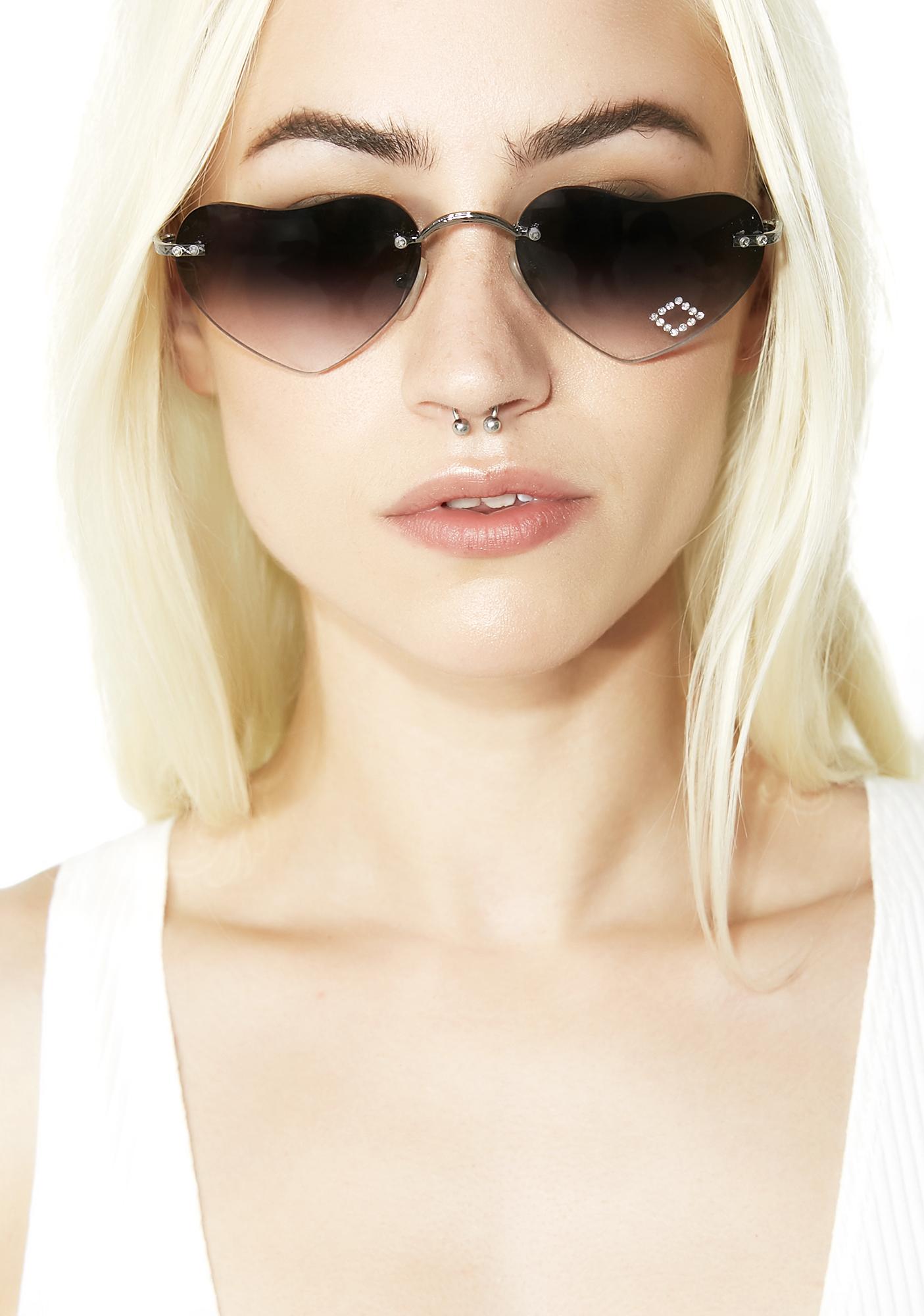 Lolita Heart Tinted Sunglasses Black