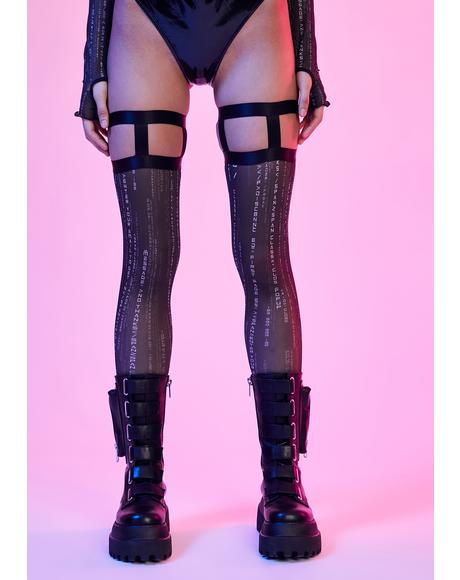 Data Error Mesh Thigh High Stockings