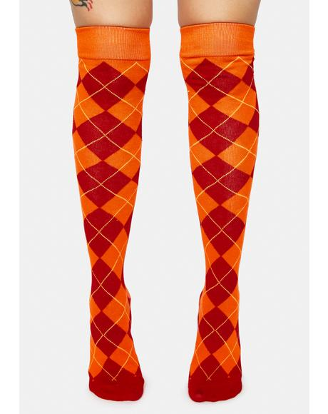 Sunset Argyle Knee High Socks