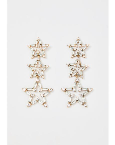 Golden Crystallized Fate Star Earrings