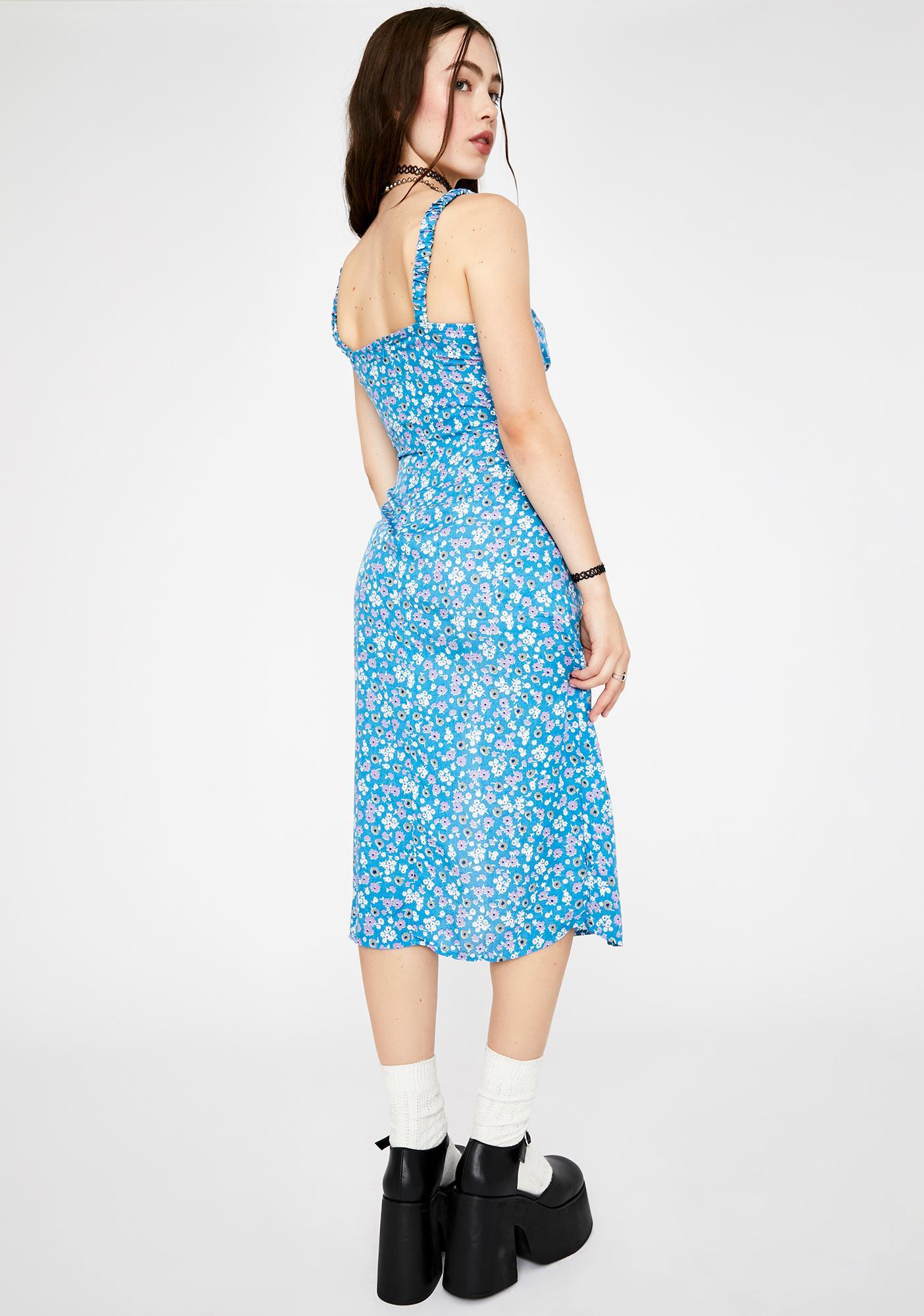Motel Blue Bloom Jova Midi Dress