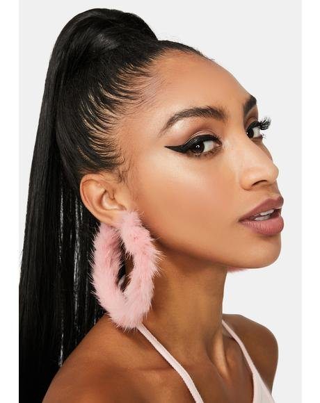 Blush Outspoken Fiery Fuzzy Hoop Earrings