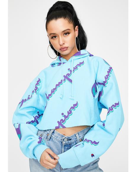 AOP Reverse Weave Cropped Hoodie